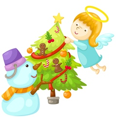 Snowman with angel tree christmas vector