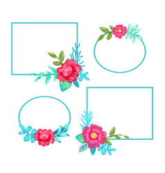 Squared frames and flowers set vector
