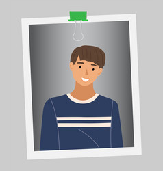 stylish young dark-haired man in blue sweater vector image