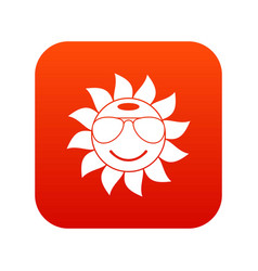 sun icon digital red vector image
