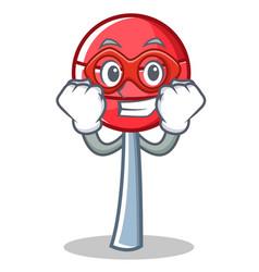Super hero sweet lollipop character cartoon vector