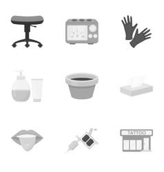 Tattoo studio set icons in monochrome style Big vector