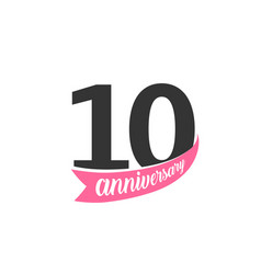 tenth anniversary logo number 10 vector image