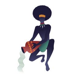 Tribal zodiac aquarius man with necklaces vector