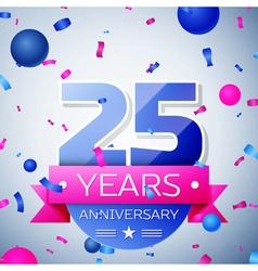 Twenty five years anniversary celebration on grey vector