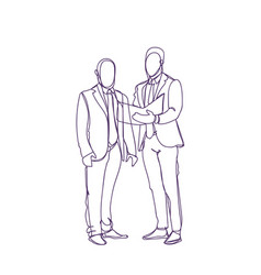 two business man silhouette sketch discuss vector image