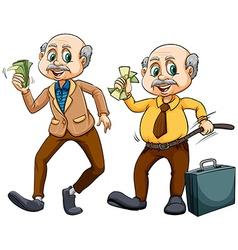 Two old men with money vector image