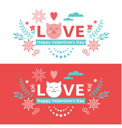 valentines day lettering banner vector image
