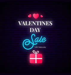 Valentines day sale banner neon vertical vector