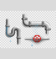 various broken metal pipes and leaking pipelines vector image