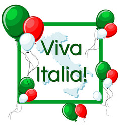 viva italia greeting card with green red and vector image