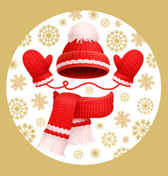 warm set winter knitted scarf mittens and hat vector image
