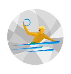 Water polo player athlete on gray background vector