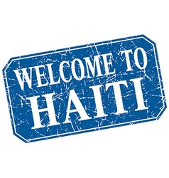 Welcome to Haiti blue square grunge stamp vector