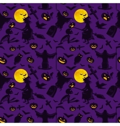 witch on a broomstick under full moon vector image