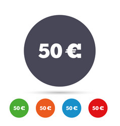 50 euro sign icon eur currency symbol vector image vector image