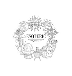 esoteric collection vintage sketch vector image