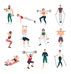 Gym people set young man and women engaged in vector