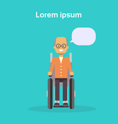 senior man on wheel chair happy old male disabled vector image