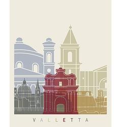 Valletta skyline poster vector image vector image