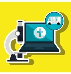 ambulance health laptop icon vector image vector image