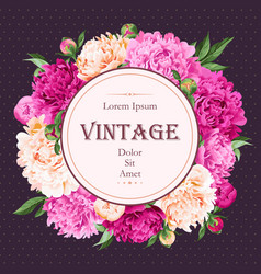 greeting card with peonies vector image