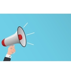 Hand holding megaphone Business finance vector image