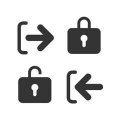 Login and Logout icons Sign in icon Locker vector image vector image