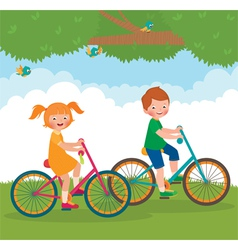 Children ride on the bike vector image vector image