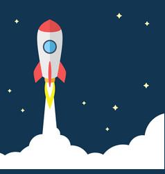 flat design of startup concept flying rocket on vector image