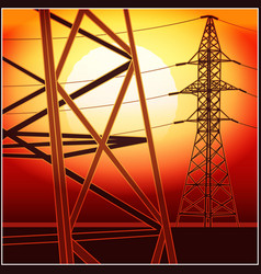 high-voltage lines at sunset vector image