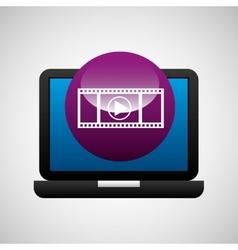 Laptop icon movie social media vector
