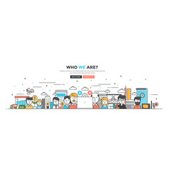 modern flat line color hero image of who we are vector image vector image