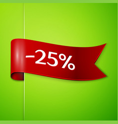 red ribbon with text twenty five percent discount vector image