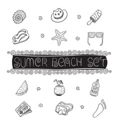 summer beach hand drawn symbols and objects vector image