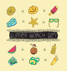 Summer vacation holiday icons background eps 10 vector