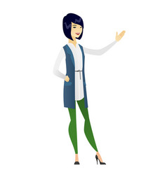 Asian business woman showing a direction vector