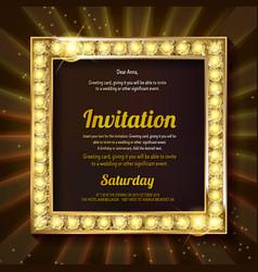 invitation with a gold decoration original design vector image