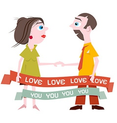 Man and Woman Holding Hands with Love You Title on vector image