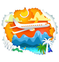 paper art with sun and aircraft vector image