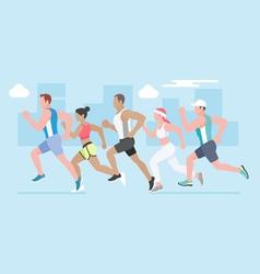 Running marathon vector image