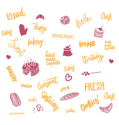 sketch bread and sweet elements set vector image vector image