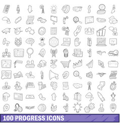 100 progress icons set outline style vector image