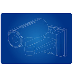 3d model of surveillance camera on a blue vector image