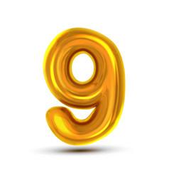 9 nine number golden yellow metal letter vector