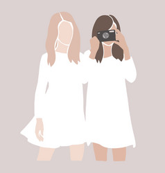 abstract girls silhouettes friends together vector image
