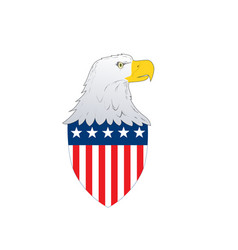 american flag badge shield with eagle facing side vector image