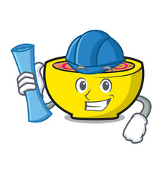 Architect soup union character cartoon vector