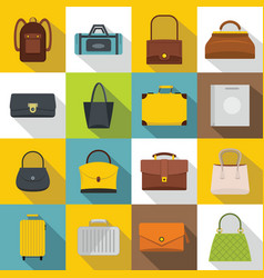 bag baggage suitcase icons set flat style vector image