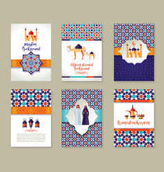 Banners set of islamic celebration ramadan kareem vector